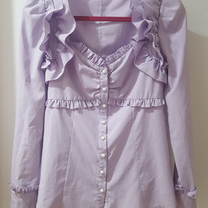 Tops - pastel purple kawaii long puff sleeve ruffle shirt